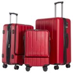 Coolife Luggage Expandable Suitcase 3 Piece Set with TSA Lock with Computer Pocket (wine red)