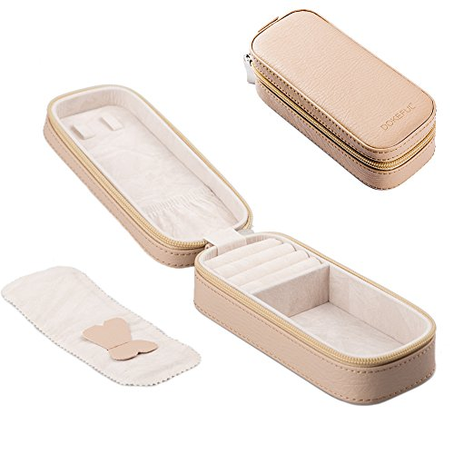 DOKEFUL Small Travel Jewelry Box Organizer with ZipperJewelry Case