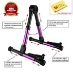 YMC Guitar Stand for Acoustic/Electric/Classical Guitars and Violin, Ukulele, Bass, Banjo, Mandolin – Folding, Portable and Lightweight – Fits Your Fender/Epiphone/Taylor/Yamaha/Martin Music Instrument – The Ultimate for Concert & Travel – Premium Accessories by YMC (Purple) + Free Polishing Cloth – Lifetime Warranty