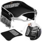 Kids Travel Tray EocuSun Childrens Snack Play Trays with Mesh Pockets and Cup Holders for Car Seats Snacks Bus Train and Plane Journeys (Black)