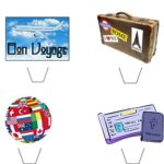 Novelty Bon Voyage / Travel Mix 12 Edible Stand up wafer paper cake toppers (5 – 10 BUSINESS DAYS DELIVERY FROM UK)
