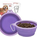 Prima Pet Expandable / Collapsible Silicone Food & Water Travel Bowl with Clip for Medium & Large Dog, Portable and Durable Pop-up Feeder for Convenient On-the-go Feeding, Size: 5 Cups (7 Inch Diameter Bowl) (LARGE (5 CUPS), PURPLE)