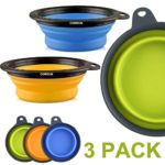 Comsun 3-pack Large Size Collapsible Dog Bowl, Food Grade Silicone BPA Free, Foldable Expandable Cup Dish for Pet Cat Food Water Feeding Portable Travel Bowl Blue Green Yellow