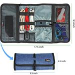 Cable Organizer, Travel Organizer,Valkit Best Electronics Accessories Wire Cord Cables Tires Wrap Case Cover Bags Rolling Organizer Can Fit Cosmetic For Weekender Travel Management, Large Size-Blue