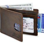 SERMAN BRANDS- RFID Blocking Bifold Slim Genuine Leather Thin Minimalist Front Pocket Wallets for Men Billfold – Made From Full Grain Leather