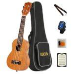 UBETA US-031 Soprano Ukulele 21 Inch Beginner Travel Mahogany Ukulele Bundle with Gig bag, clip-on tuner, picks,strings chord card and strap