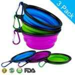 LOGROTATE Dog Bowl (3 Pack) Made of Food Grade Silicone and BPA-Free and FDA Approved Portable Foldable Pet Bowl for Dog Cat Pet Food Water Feeding-Collapsible Travel Bowls When Travel or at Home